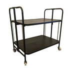 Metal Folding Bar Cart - This little cart is a wonderfully versitile piece for entertaining! Able to completely fold up, you can store it, bring it out for parties, or use it daily for kitchen storage. Normal wear and tear considering its age! Dimension Details: 6.75 inches at lower shelf, 19.75 inches at upper shelf