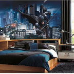Roommates Decor - Batman Dark Knight Rises SureStrip Prepasted Mural - Bring the Dark Knight into any bedroom, den, or man cave with this dramatic wallpaper mural. Featuring officially licensed art from The Dark Knight Rises, this eyecatching design features Batman swinging practically into your room with Gotham City waiting in the background. Like all XL murals, this piece of Batman wall decor is easy to apply, and can transform anyone's room in less than an hour.