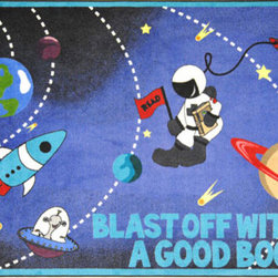 Joy Carpets - Blast Off With a Good Book� Rectangular: 5 Ft. 4 In. x 7 Ft. 8 In. Kid Essential - - This playful rug with an outer-space theme encourages children to let their imagination run wild within the pages of their favorite story book.  - Backing - SoftFlex?  -Joy Tuff Rug� Lifetime Limited Warranty (See packaging for details)  - Certifications - CRI Green Label Plus�   - 100% STAINMASTER� Nylon.   - STAINMASTER� Technology: High-Twist heat set premium nylon maximizes appearance retention resiliency and the ability to withstand traffic.   - SoftFlex? Backing.   - All carpets are 100% recyclable.   - Made With the LOTUSFX FIBER SHIELD? which enables the carpets to stay 30% cleaner and last 50% longer shed liquids and soil particles and resist food and beverage stains.   - Lifetime antimocrobial protection gaurds against mold mildew and odor causing substances.   - Lifetime Static Protection that is built in and permanent.   - SoftFlex? soft woven Backing system eliminates wrinkling and curling.   - Class I Flammability Rating: Passes NFPA253 and ASTM E-648 tests.   - Serging: Bound and double-stitched for maximum durability.   - Resists color fading and discoloration.   - Made in the USA.   - Joy Carpets area rugs and carpets with STAINMASTER� have been awarded the CRI Green Label Plus� Certification ensuring all products exceed the most stringent Indoor Air Quality Standards and are best suited for living working and learning environments. Joy Carpets - 1673C