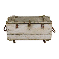 Consigned Antique Wooden Chest on Iron Casters - An early 20th Century wooden storage box or tool chest on iron casters with removable divided tray and rope handles. This perfectly distressed chest closes with an iron latch and hinges and rolls very smoothly on swivel casters. Could be used as a bench, table base or dog toy box.