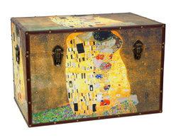 Oriental Furniture - Works of Klimt Trunk - Combining the high aesthetics of Art Nouveau with the bold composition of Japanese block prints and medieval illuminations, Gustav Klimt's 1908 masterpiece The Kiss displays a mastery of art that spans time and cultures. This trunk captures the passion and stunning beauty of his original painting with a high definition print on art-quality canvas. Stretched across kiln-dried wood and protected with riveted faux leather edges, this chest is designed to look fantastic for years to come. The spacious, fabric lined interior cushions your possessions from wear, and the durable wooden frame provides added protection. An inconspicuous interior arm conveniently holds the lid when you need the trunk open, and a pair of external closures keep it shut tight when you don't. An artful display of both form and function, this beautiful trunk will accent your personal decor with a touch of Viennese sophistication!