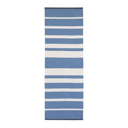 Gradated-Stripe Cotton Runner, Poolside Blue - The gradient stripes on this runner are perfect. I love the cool mix of blue and white.