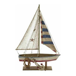 "Wood Rope Sailboat Decor 78738 - Wood Rope Sailboat Decor features replica red, white, and blue sailboat with wood stand. Miniature rope and anchor at bottom. 29"" x 32"""