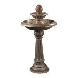"""Jeco - Ananas Pineapple Tier Outdoor Fountain - """"Add a beautiful centerpiece to your garden or courtyard with the 2-Tier Pineapple Fountain. This fountain is made of a strong and durable resin ensuring you years of enjoyment. The Pineapple Fountain commands attention in any outdoor setting . The water cascades easily down each tier making soothing waterfall sounds and creating a peaceful environment."""
