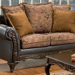 Chelsea Home - 69 in. Traditional Loveseat - Includes toss pillows. Sofa in bi-cast brown fabric over high-density cover. Pillow in silas raisin cover. Seating comfort: Medium. Plush, rolled arms. Dacron wrapped foam and reversible seat cushions. Zippered pillows cushion. 8.5 gauge medium loop sinuous springs spaced 5 in. apart. 1.8 density foam with 0.75 of fiber wrapping. Ornately carved wood trim. Fabric contains: 33% rayon, 33% polyester, 14% cotton/100% polyester. Made from mixed hardwoods and plywood. Made in USA. No assembly required. Seat: 46 in. L x 25.5 in. W x 22 in. H. Overall: 69 in. L x 34 in. W x 36 in. H (135 lbs.)The Chelsea Arlene Collections richly crafted wood frame and plush fabric brings sense of Victorian elegance to any living room area. This beautiful set, by Chelsea Home Furniture, epitomizes Chelseas legendary reputation for quality and comfort.