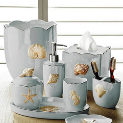 """Mare Shells"" Porcelain Bath Accessories in Seafoam by Kassatex - Mare Shells is an underwater fantasy.  The pieces of this chic Porcelain accessory set with a Pearlized finish and Platinum trim will transform your bathroom into an exclusive getaway"