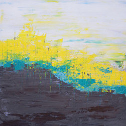 Prevailing Line (Original) by Hilary Winfield - Prevailing Line is an original, modern art painting from the Abstract Landscape series. This one-of-a-kind painting was created with acrylic paint on gallery-wrapped canvas. It has a width of 12 inches and a height of 12 inches with a depth of 1 inch (12x12x1). The edges of the canvas have been painted black, creating a finished look so the canvas does not require a frame.