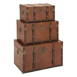 """Benzara - Timeless Designed Wood Leather Trunk - Set of 3 - Do you belong to that perfectionist nature who would not settle for anything but the best? This wood leather trunk set is definitely your pick and you would love to have Contemporary Timeless Designed Wood Leather Trunk (Set of 3). Constructed with super fine wood quality for a long and durable life, this sturdy wood leather trunk set is embraced with a light brown color leather finish all over with chocolate brown belts to complete its look. Apart from being a decorative accessory that blends in with traditional and modern decor, this elegant wood leather trunk is a thing of great utility too. These elegant wooden leather trunks are extraordinary and timeless in design and are Ideal to keep all your extra and important items safely inside for ages..; Polished leather exteriors; High quality wood construction; Complements traditional and modern decor; Timeless design with an excellent appeal; Weight: 50.72 lbs; Dimensions:28""""W x 16""""D x 17""""H; 24""""W x 14""""D x 14""""H; 20""""W x 12""""D x 10""""H"""