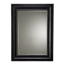 Cooper Classics - Bar Harbour Beveled Mirror - Rectangular shape. Made from poplar wood. Black matte distressed finish. Interior: 23.5 in. W x 35.5 in. H. Overall: 34 in. W x 46 in. H