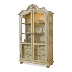 ART - Buffet Display Cabinet - This magnificent display cabinet has a graceful arched crown with coved undertop molding and a linen antique finish. Shaped wood-framed glass doors and three-way touch lighting offer an elegant way to showcase collectibles in this beautiful cabinet.