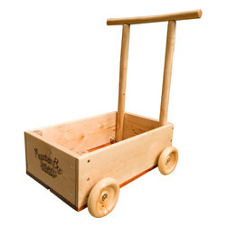 Mountain Boy Sledworks - Dragonfly Push Cart - Mountain Boy Sledworks - This beautiful handmade wooden push cart is a great walker for toddlers. Solid willow handle, wooden wheels, and pine box construction make it sturdy for those first steps. The generous open box makes it an ideal movable treasure cart, suitable for blocks, bottles, and that special teddy bear. Lead-free finish; meets all ASTM, USC and CE child safety standards. For ages 1 year and up. Adult assembly required.