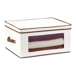 Honey Can Do - Natural Canvas Large Window Storage Chest - Clear view windows. Quickly identify items inside. Sturdy construction. Holds up to 25 lbs.. Includes stemware inserts. Protects 12 glasses against chips and crack. 18.375 in. L x 13.875 in. W x 8.5 in. H (3.8 lbs.)Honey-Can-Do SFT-02067 Stemware Storage Chest, Natural/Brown. Store up to 12 balloon style glasses in this 18.5x14 inch storage box. The clear view window lets you easily see the contents while the lift off lid simplifies access. Protective inserts help safeguard against chips or scratches. Remove the dinnerware inserts and this storage box turns into a great closet organization tool. Store boots, sweaters, linens, or seasonal clothing. In classic off-white with brown accents, this stackable storage box will instantly upgrade any pantry or closet. Made of polyester and cotton canvas.