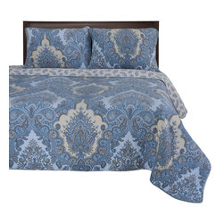 Waverly Quilt Set - King/California King - The Waverly Quilt Set features a brilliant blue paisley pattern which adds style and artfulness to any bedroom. This set is made of 100% cotton and includes (1) Quilt: 106x92 and (2) Pillowshams: 20x36 each.