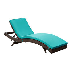 "LexMod - Peer Outdoor Patio Chaise in Brown Turquoise - Peer Outdoor Patio Chaise in Brown Turquoise - Dont let moments of relaxation elude you. Peer is a serenely pleasant piece comprised of all-weather cushions and a rattan base. Perfect for use by pools and patio areas, chart the waters of your imagination as you recline either for a nap, good read, or simple breaths of fresh air. Moments of personal discovery await with this chaise lounge that has fold away legs for easy storage or stackability with other Peer lounges. Set Includes: One - Peer Lounge Modern Outdoor Chaise Lounge, Synthetic Rattan Weave, Machine Washable Cushion Covers, Powder Coated Aluminum Frame, Water & UV Resistant, Ships Pre-Assembled Overall Product Dimensions: 78""L x 27.5""W x 48.5""H Daybed Dimensions: 78""L x 27.5""W x 33""HBACKrest Height: 33""H Seat Height: 15.5""H - Mid Century Modern Furniture."