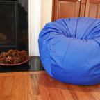 "Bean Bags for Boys - Ahh! Products organic cotton bean bag chair in blue. Remove and wash cover, water-repel liner. 37"" large size. 10 year warranty, Made in USA."