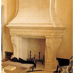 The Elysee Mantel with Elysee Overmnatel- Francois & Co. - This substantial mantelpiece with pure clean lines offers uncommon elegance to a large space. The scrolled corbels supporting the shelf add refinement and sophistication to this impressive fireplace mantel.