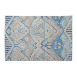 1800-Get-A-Rug - Ivory and Sky Blue Ikat Hand Knotted Rug Sh11779 - About Wool Pile
