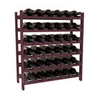 36 Bottle Stackable Wine Rack in Pine with Burgundy Stain - A pair of discounted wine racks allow double wine storage at a low price. This rack accommodates all 750ml bottles, Pinots and Champagnes. The quintessential DIY wine rack kit. Your satisfaction is guaranteed.