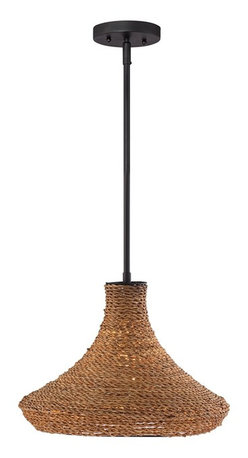 "Lamps Plus - Coastal Windsun 15"" Wide Rattan Shade Pendant - Asian influences this pendant light adds a breezy feel to natural or international inspired decor settings. Great above kitchen nook dining areas and more. A bronze finish completes the look. Bronze finish. Rattan shade. Maximum 72 watt or equivalent bulb (not included). Includes one 6"" three 12"" downrods. 15"" wide.  Bronze finish.  Rattan shade.  Maximum 72 watt or equivalent bulb (not included).  Includes one 6"" three 12"" downrods.  15"" wide.  10 1/2"" high.  Canopy is 5"" wide.  Hang weight is 7 lbs."