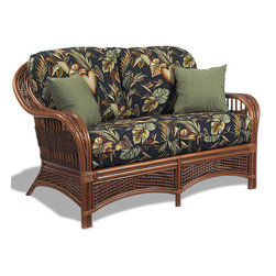Wicker Paradise - Rattan Loveseat - Tigre Bay - Our rattan loveseat is finished in a warm shade of brown and built to last. Tropical fabrics really make this a go for a perfect exotic look. Two can sit on this roomy rattan loveseat.