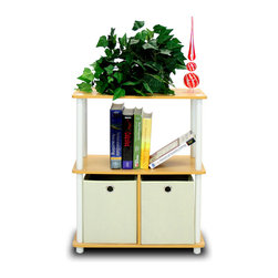 Furinno - Furinno 99152BE/WH/IV Go Green Storage Shelf - Furinno Go Green Turn-N-Tube Home Living Mini Storage and Organization Series: 3-Tiers No Tools Multipurpose Storage Shelving Unit with non-woven bins . (1) Unique Structure: Open display rack, shelves provide easy storage and display for decorative and home living accessories. Suitable for rooms needing vertical storage area. Designed to meet the demand of low cost but durable and efficient furniture. It is proven to be the most popular RTA furniture due to its functionality, price, and the no hassle assembly. (2) Smart Design: Easy Assembly and No tools required. A smart design that uses durable recycled PVC tubes and engineered particleboard that withstand heavy weight. Just repeat the twist, turn and stack mechanism, and the whole unit can be assembled within 10 minutes. Experience the fun of D-I-Y even with your kids . (3) The  Particleboard is manufactured in Malaysia and comply with the green rules of production. There is no foul smell, durable and the material is the most stable amongst the particleboards. The PVC tube is made from recycled plastic and is tested for its durability. A simple attitude towards lifestyle is reflected directly on the design of Furinno Furniture, creating a trend of simply nature. All the products are produced and assembled 100-percent in Malaysia with 95% - 100% recycled materials.