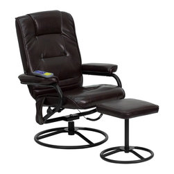 Flash Furniture - Massaging Recliner w Ottoman - Massage controls on recliner and ottoman. Comfortably designed chair. Brown leather upholstery. Swivel seat. Metal base. On/off remote control. Heat control. Five massage modes. Three intensity levels (Low, Medium and Hi). Massages shoulders, lumbar, seat and thighs. Green certified: Yes. Supplier warranty: Our products have a two year warranty for parts. This warrants against defects in manufacturing. If the products are used excessively (more than 8 hours/day), and have excessive weight (over 225 lbs.) applied, the warranty is void. New parts will be sent out, or the item will be replaced at our discretion. Made from foam, leather and metal. Minimal assembly required. Seat: 21 in. W x 20.5 in. D x 17.5 in. H. Seat thickness: 3 in.. Back: 22 in. W x 26 in. H. Arm height from floor: 22.5 in.. Arm height from seat: 7 in.. Weight capacity: 250 lbs.. Chair: 31 in. W x 30 - 43 in. D x 39 in. H (46 lbs.). Ottoman: 15 in. W x 13 in. D x 16 in. H
