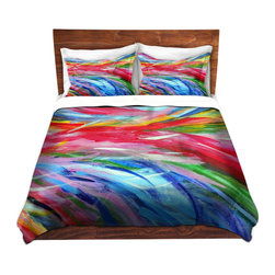 DiaNoche Designs - Duvet Cover Twill - Rainbow Cyclone - Lightweight and super soft brushed twill Duvet Cover sizes Twin, Queen, King.  This duvet is designed to wash upon arrival for maximum softness.   Each duvet starts by looming the fabric and cutting to the size ordered.  The Image is printed and your Duvet Cover is meticulously sewn together with ties in each corner and a concealed zip closure.  All in the USA!!  Poly top with a Cotton Poly underside.  Dye Sublimation printing permanently adheres the ink to the material for long life and durability. Printed top, cream colored bottom, Machine Washable, Product may vary slightly from image.