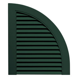 """Builders Edge - Louvered Design Quarter Round Tops in Midnigh - Provides distinctive styling for standard shutters. Constructed with color molded-through vinyl so they will not scratch, flake, or fade. Durable, maintenance-free U.V. stabilized, deep wood grain texture. Made in the USA. For use with Builders Edge 15"""" Standard Louver Shutters only. 14.5 in. W x 1 in. D x 17 in. H (1.69 lbs.)"""