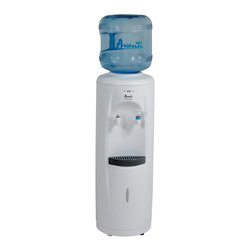 Avanti - Cold & Room temperature water dispenser - Lightweight Durable Plastic Body, Contemporary Styling, Push Button Faucets for Cold and Room Temperature Drinking Water, Dual Taps for Instant Cold and Room Temperature Water, LED Light Indicators for Cold and Room Temperature Water Operation, Large Stainless Steel Reservoir for Water Purity, Large Capacity Cold Water Reservoir, Removable Drip Tray, Detachable Leveling Leg, Water Bottle Not Included, Cup Dispenser (Optional), Unit dimensions (33.5 x 11.75 x 12)