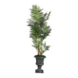 "Laura Ashley - Laura Ashley 82"" Tall Palm Tree in 16"" Fiberstone Planter - The Laura Ashley Brand is known for harmonizing tranquil colors and classic shapes allowing you to bring the calm feel of Zen to your home or office décor. Our Palm tree allows you to feel like your surrounded by nature. there is no need to shop for a"