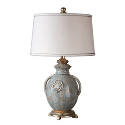Matthew Williams - Matthew Williams Cancello Blue Glaze Traditional Table Lamp X-38462 - Textured ceramic finished in a distressed light blue glaze with rust undertones, tan glaze and silver leaf details. The round, slightly tapered hardback shade is silken off-white linen fabric with silver double trim.