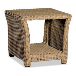 Thos. Baker - Outdoor Glass Top End Table | Sanibel Collection - Crafted using fade-resistant nDuraA all-weather wicker hand-woven over powder-coated aluminum frames, each piece in the sanibel collection boasts a transitional style that compliments both contemporary and traditional outdoor spaces.Plush cushion sets are covered in premium Sunbrella outdoor fabrics made-to-order in your choice of 24 solid and textured colors or 16 premium woven patterns.Signature or premium cushion sales are final and ship in 2-3 weeks.Crafted using fade-resistant nDuraA all-weather wicker hand-woven over powder-coated aluminum frames, each piece in the sanibel collection boasts a transitional style that compliments both contemporary and traditional outdoor spaces.