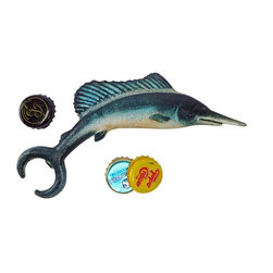 EttansPalace - Marlin Fish Cast Iron Bottle Opener - Most marlins are said to have powerful tails, but we bet that our antique replica trophy fish is the king of the ocean when it comes to popping tops! Hand-crafted exclusively for using the time-honored sand cast method, this antique replica cast iron bottle opener is hand-painted to muted, vintage hues to capture details from fins to gills. Great gift for a fisherman, boater or is land-lover!