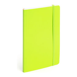 Poppin - Soft Cover Notebook, Lime Green, Medium - Keep your little black book — or play the field in a rainbow of colors. This notebook features 192 white ruled pages for your field notes, love poems and bright ideas, and it has an interior pocket, elastic closure and an orange bookmark so you know your place.