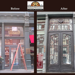 Cornerstone Lofts Historical Remodel Entry Door - Cornerstone Lofts before and after