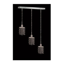 Elegant Lighting - Mini Jet Crystal Pendant w 3 Lights in Chrome (Strass Swarovski) - Choose Crystal: Strass Swarovski. 3 ft. Chain/Wire Included. Bulbs not included. Crystal Color: Jet (Black). Chrome finish. Number of Bulbs: 3. Bulb Type: GU10. Bulb Wattage: 55. Max Wattage: 165. Voltage: 110V-125V. Assembly required. Meets UL & ULC Standards: Yes. 14.5 in. D x 8 to 48 in. H (8lbs.)Description of Crystal trim:Royal Cut, a combination of high quality lead free machine cut and machine polished crystals & full-lead machined-cut crystals..SPECTRA Swarovski, this breed of crystal offers maximum optical quality and radiance. Machined cut and polished, a Swarovski technician¢s strict production demands are applied to this lead free, high quality crystal.Strass Swarovski is an exercise in technical perfection, Swarovski ELEMENTS crystal meets all standards of perfection. It is original, flawless and brilliant, possessing lead oxide in excess of 39%. Made in Austria, each facet is perfectly cut and polished by machine to maintain optical purity and consistency. An invisible coating is applied at the end of the process to make the crystal easier to clean. While available in clear it can be specially ordered in a variety of colors.Not all trims are available on all models.