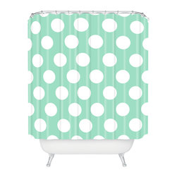 DENY Designs - Allyson Johnson Mintiest Polka Dots Shower Curtain - Who says bathrooms can't be fun? To get the most bang for your buck, start with an artistic, inventive shower curtain. We've got endless options that will really make your bathroom pop. Heck, your guests may start spending a little extra time in there because of it!