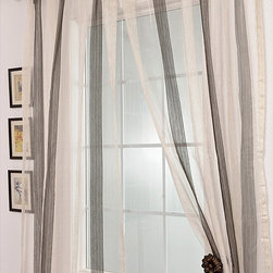 EFF - Signature Havannah Ash 84-inch Striped Linen and Voile  Sheer Curtain - Bring flowing sophistication into your home with this 84-inch striped sheer curtain. Made from linen and voile,this unlined curtain features gentle beige and gray stripes. The rod pocket construction and energy-saving qualities add to its value.