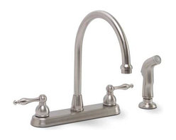 PREMIER - Premier 119266 Wellington Lead-Free Centerset Two-Handle Lavatory Faucet, Parisi - Dependable ceramic disc technology Teapot style metal handles Features high rise spout and matching sprayer   two handle; kitchen; faucet; lead free; spray