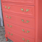 Vintage Coral French Provincial Dresser By Shabby Maggie - Bold colors on furniture have to be done right, and I love this silky-smooth coral vintage provincial tallboy.