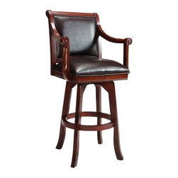 Hillsdale Furniture - Hillsdale Palm Springs Swivel 30 Inch Barstool - Add panache to your bar, game room, or kitchen with Hillsdale Furniture's Palm Springs barstool. Finished in a medium brown cherry with brown leather seat cushions and backs, this swivel stool combines comfort with casual living. Composed of solid woods, climate controlled wood composites, and veneers, this stool can find a home in your game room, bar area, or kitchen. Handsome alone or with the matching Pub table, game table and chairs.