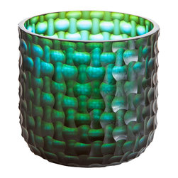 Abigails - Ombre Ice Bucket, Blue/Green - This unique, cross cut glass patterned ice bucket comes from a technique developed centuries ago.   Makes a statement of its own on most any bar or cocktail set up.