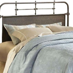 Hillsdale Furniture - Hillsdale Kensington Metal Headboard w/ Rails in Old Rust - Full / Queen - The Kensington bed has a traditional design with a hint of turn of the century French style. The classic silhouette is enhanced by the solid center panels which are graced by detailed castings. Available in either Old Rust or Textured White finish, the Kensington is a wonderful addition to any bedroom.