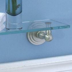 Marina Classic Tempered Glass Shelf - This glass shelf is perfect for organizing your toiletries or displaying candles, vased flowers or any decorations of any kind. Its sleek and classic design give it an airy and weightless appearance.