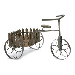 KOOLEKOO - Charming Cycle Plant Stand - This faux tricycle will pedal its way into your heart and home with country charm! The wooden basket is framed with picket fence posts and is ready to display your favorite potted plants. The metal framework features wheels with flower insets, a seat and handlebars.