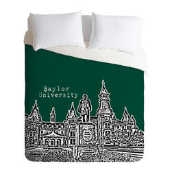 DENY Designs - Bird Ave Baylor University Green Duvet Cover - Turn your basic, boring down comforter into the super stylish focal point of your bedroom. Our Luxe Duvet is made from a heavy-weight luxurious woven polyester with a 50% cotton/50% polyester cream bottom. It also includes a hidden zipper with interior corner ties to secure your comforter. it's comfy, fade-resistant, and custom printed for each and every customer.