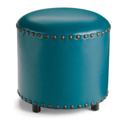Grandin Road - Round Nailhead Ottoman in Textured Deep Sea - Upholstered in textured leather. Supportive cushion. Dark espresso hardwood legs. Arrives fully assembled. Versatility abounds with our bold combination of vibrant textured leather and oversized nailhead trim in our Ottoman Trilogy. Add our sculpted ottoman to a sitting room, bedroom, or entryway; combine it with the other profiles and colors.. . . .