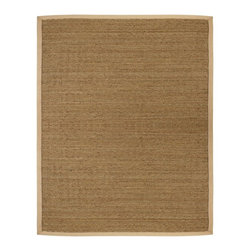 Anji Mountain - Saddleback Seagrass Rug - 10' X 14' - Seagrass is an abundant marine grass with thick, flat and smooth fibers. It exhibits a splendid range of natural color ranging from green to brown--it is never dyed. Its fiber is extraordinary durable and is a perfect fit for high traffic areas.