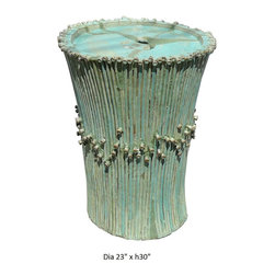 Chinese Ceramic Hand made Turquoise Fountain / Table Base - This is a hand made ceramic floor fountain display with light turquoise glaze. It has defective repair marks on the top and small part of the body. But it will work out well with some stone or beads to cover the marks on the top. It can be a nice fountain or table base with custom glass top.