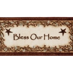 "Dean Flooring Company - Washable Non-Skid ""Bless Our Home"" Kitchen Mat/Rug 20"" x 44"" Color: Brown - Washable Non-Skid ""Bless Our Home"" Kitchen Mat/Rug 20"" x 44"" Color: Brown : Washable non-skid ""Bless Our Home"" kitchen mat. Size 20"" x 44"". Shape: Rectangle."
